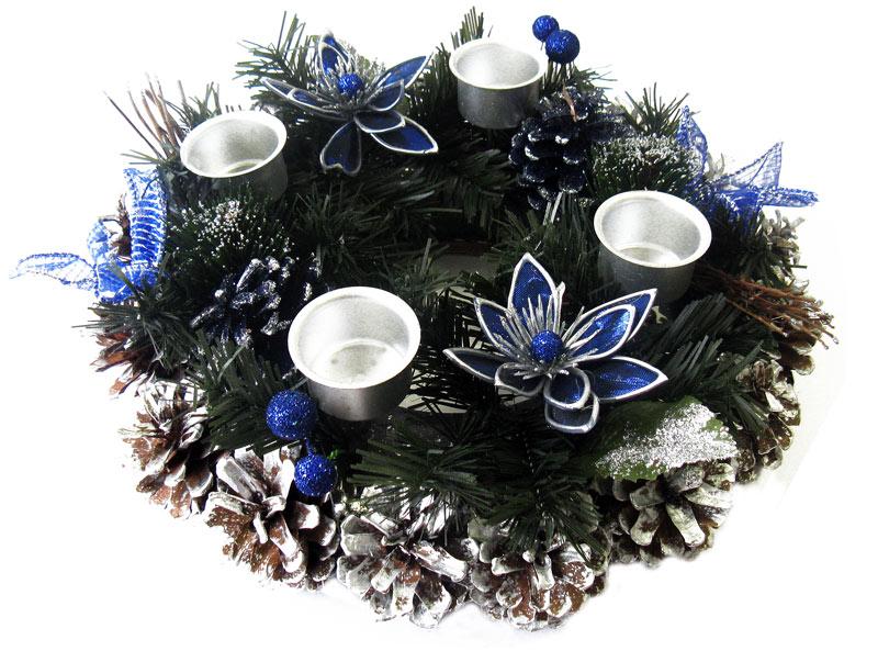 adventskranz weihnachtsdeko weihnachtskranz blau neu ebay. Black Bedroom Furniture Sets. Home Design Ideas