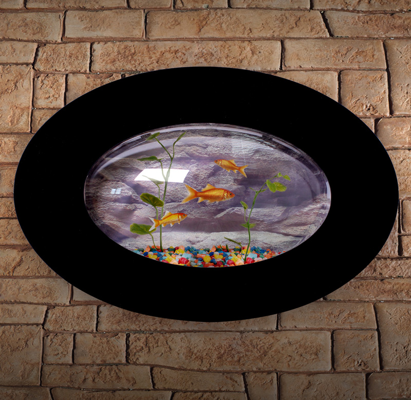 wandaquarium aquarium nano becken wand aquarium oval komplett set schwarz lwa010 ebay. Black Bedroom Furniture Sets. Home Design Ideas